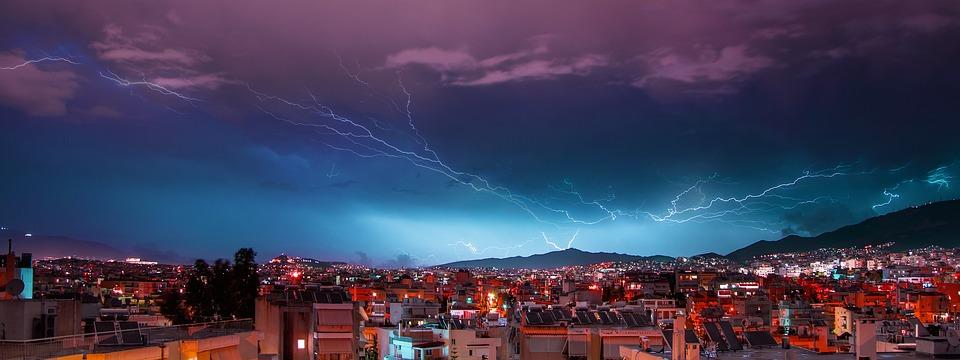 világítás, athén, vihar